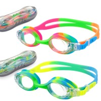 USHAKE Kid Swim Goggles for Kids and Early Teens (2 PACK)