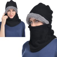 USHAKE Balaclava Fleece Hood for Men or Women (Black/Grey/Red colors)