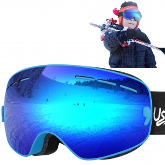 USHAKE Kid Ski Goggles ( Mirrored Blue/Green/Yellow Lenses)